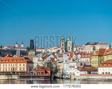 View of the Lesser Town, St. Nicholas Church and Hradcany, Prague, Czech Republic