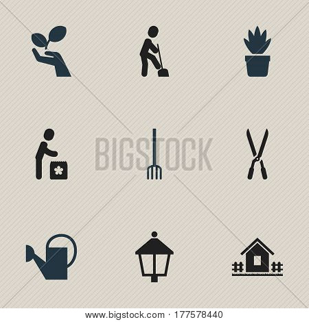 Set Of 9 Editable Agriculture Icons. Includes Symbols Such As Pot Bush, Streetlight, Garden Scissors And More. Can Be Used For Web, Mobile, UI And Infographic Design.
