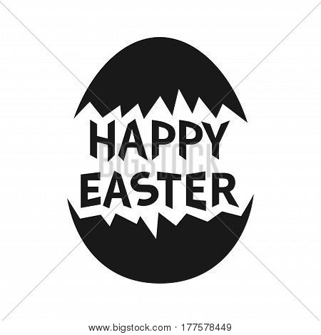 Happy Easter text. Painted cracked egg shell. Black shape silhouette. Typography poster lettering. Greeting card. White background. Flat design. Vector illustration