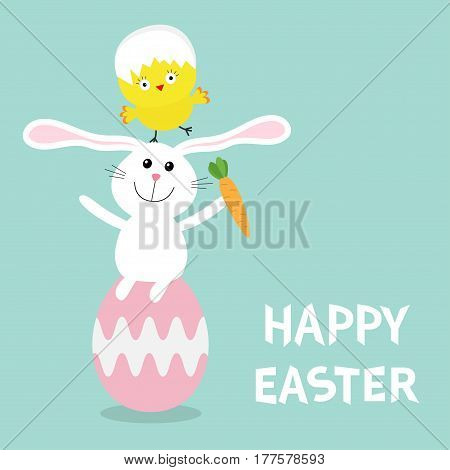 Happy Easter bunny. Chicken pyramid set. Rabbit baby chick bird friends sitting on painting pink egg shell. Farm animal. Cute cartoon funny character. Greeting card. Blue background Flat design Vector