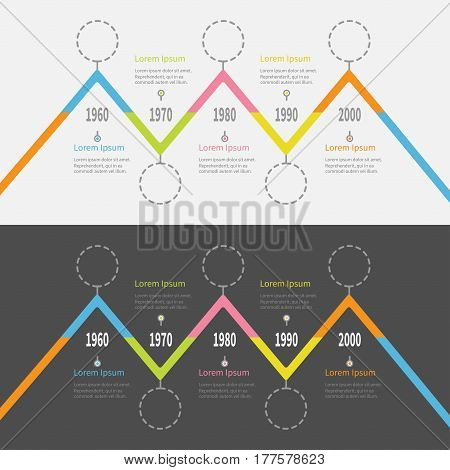 Five step Timeline Infographic set. Colorful triangle corner segment. Dash line round circle. Template. Flat design. White Black background. Isolated. Vector illustration