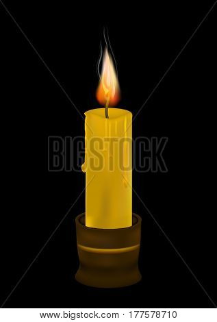 A wax candle is burning. Black background . Religion, church. Memory of mourning. Vector illustration