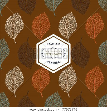Floral seamless pattern with autumn grunge blue orange green white tree leaves on white background. Maple Elm Aspen textured leaves.
