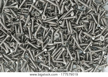 Close Up stainless steel Screw Background and texture