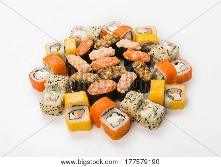 Sushi, gunkan and rolls - japanese food restaurant delivery, california platter set isolated at white background, placed in circle
