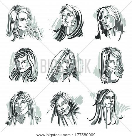Attractive ladies vector portraits collection silhouettes of ladies. Grayscale art drawings graphic images with strokes. Personality emotions.