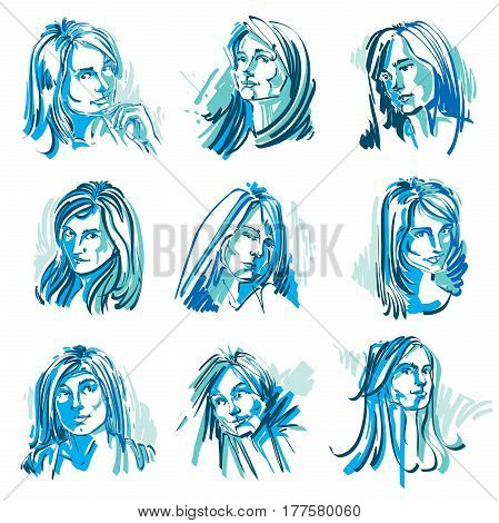 Attractive young ladies vector art portraits collection blue outline. Facial expression of females different characters.