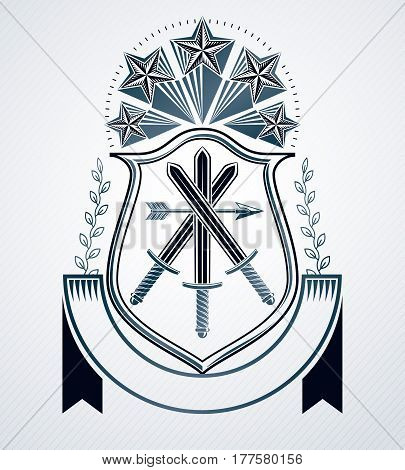 Vector emblem created in vintage heraldic design with pentagonal stars and armory