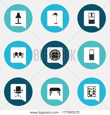 Set Of 9 Editable Furnishings Icons. Includes Symbols Such As Bookshelf, Wall Mirror, Wooden Table And More. Can Be Used For Web, Mobile, UI And Infographic Design.