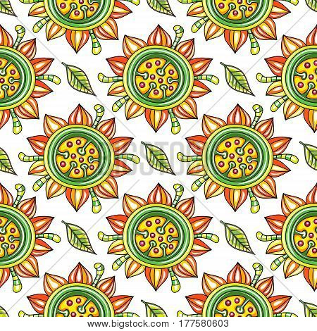 Seamless endless floral pattern with decorative sunflowers and leaves isolated on white background. Can be used as wallpaper or wrapping paper. Vector illustration