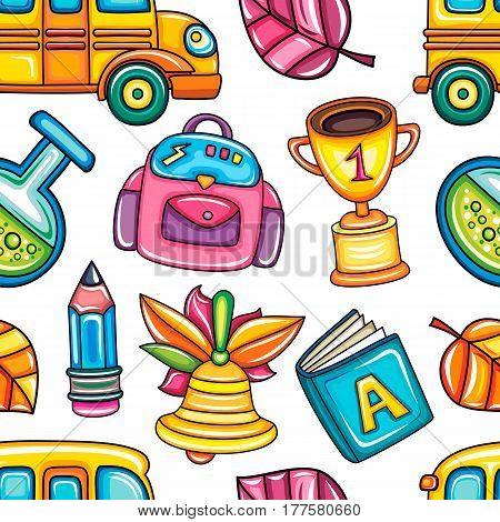 Back to school colorful  seamless vector pattern. Good for textile fabric design, wrapping paper and website wallpapers. Vector illustration isolated on white background