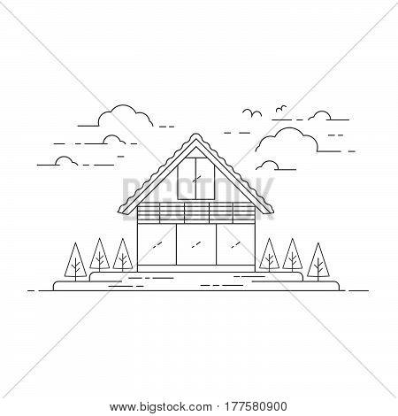 Vector Flat Line Modern House Illustration