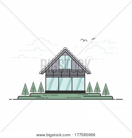 Vector flat line village family house illustration with trees clouds birds.