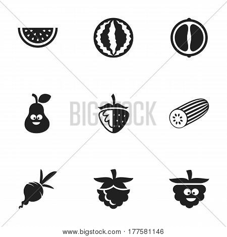 Set Of 9 Editable Food Icons. Includes Symbols Such As Muskmelon, Turnip, Cucumber And More. Can Be Used For Web, Mobile, UI And Infographic Design.
