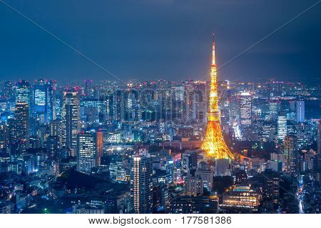 Aerial view over Tokyo tower and Tokyo cityscape view from Roppongi Hills at night,Japan