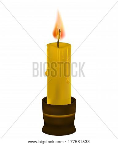 Wax candle. The wick is on. Religion of spirituality. The candlestick is brown. Vector illustration
