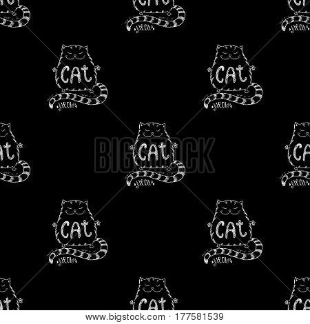 Cute cat seamless pattern, funny hand drawn , stock vector illustration