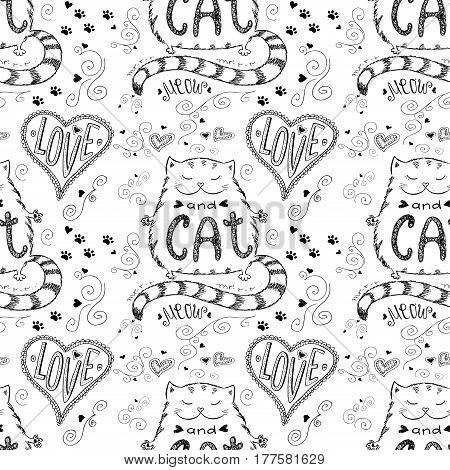 Love ans cat seamless pattern, hand drawn lettering on white background, stock vector illustration.