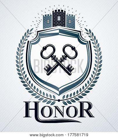 Vector emblem created in vintage heraldic design with medieval castle and door keys