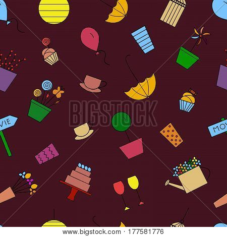 Outdoor party seamless pattern. Vector illustration. Birthday garden tea party line icons. Great for wrapping paper.