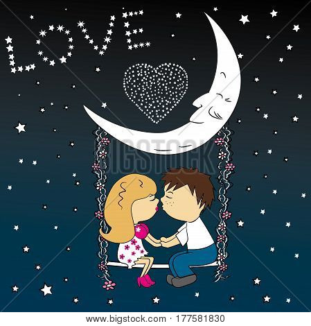 Love couple sitting at night on a swing attached to the moon.Modern design stylish illustration. Retro flat vector background. Valentines Day Card.