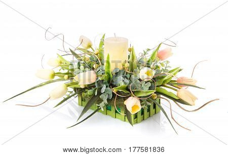 Festive flower arrangement to decorate the house isolated on white background