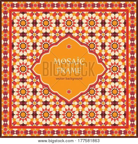 Ornate mosaic background template for design in arabic style