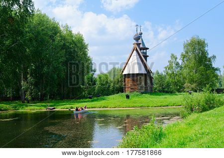 KOSTROMA RUSSIA - JULY 20 2016: Kostroma Architectural-Ethnographic and Landscape Museum-Reserve Kostromskaya Sloboda. Church of All-Merciful Savior from village of Fominskoye of Kostroma District