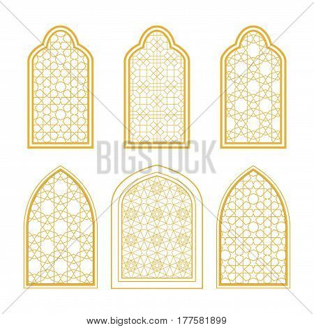 Set of ornamental windows in arabic style. For greeting card coloring page islamic design