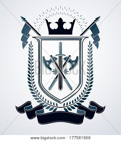 Heraldic design vector vintage emblem created with royal crown and armory