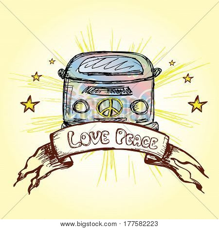 Vintage classic Camper or hippie Van, inscription- love, peace.hand drawn stock vector illustration