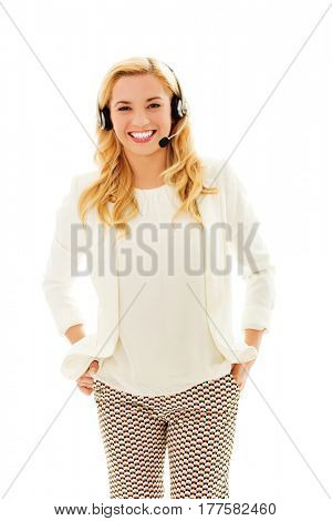 Beautiful consultant of call center in headphones