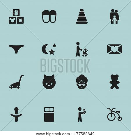 Set Of 16 Editable Family Icons. Includes Symbols Such As Grandma, Pussy, Underwear. Can Be Used For Web, Mobile, UI And Infographic Design.