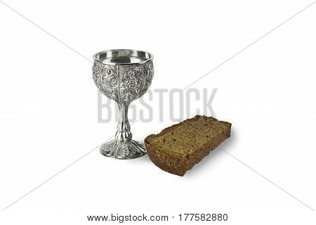 shot of vodka and black bread on a white background
