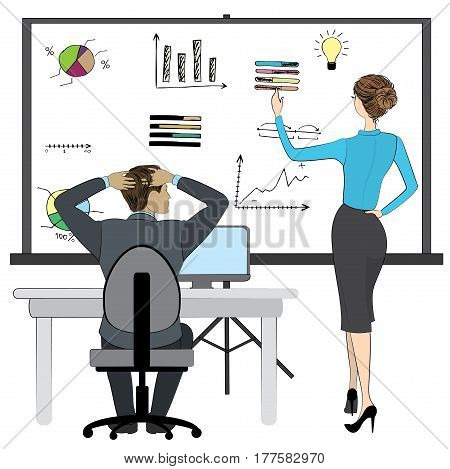 Office work or brainstorming, Business man and woman, board with finance sign and icon, stock vector illustration