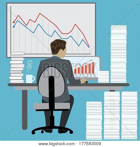 Business Man Sitting Desk , Office Working Place Laptop , hard work, Back Rear View, cartoon  Flat Vector Illustration