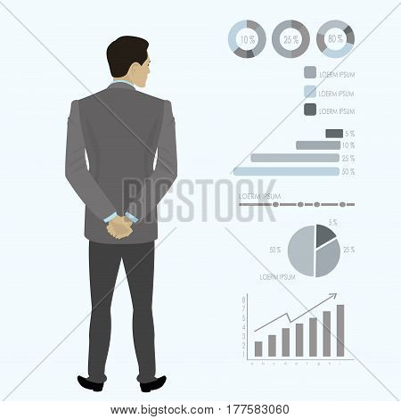 Businessman  full length back looks at a variety of charts and graphs, cartoon vector illustration