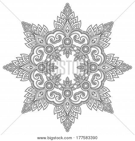 Circular pattern in the form of a mandala. Henna tatoo mandala. Mehndi style.Decorative pattern in oriental style. Coloring book page.