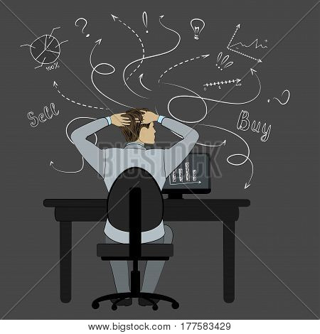 Cartoon business man sitting in a chair  back view and  looking at sketches of graphs and symbols on the dark wall, stock vector illustration