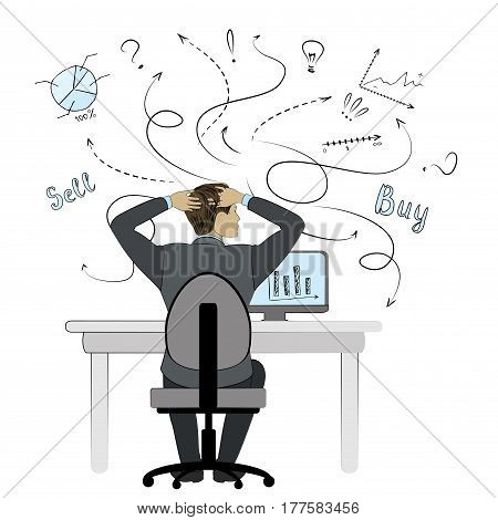 Man working on computer.Businessman or office worker.Flat style. Back view. Stock vector illustration