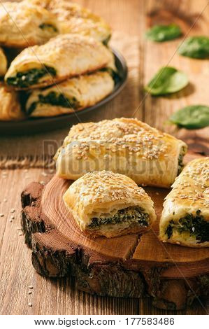 Puff pastry rolls  with spinach and ricotta.