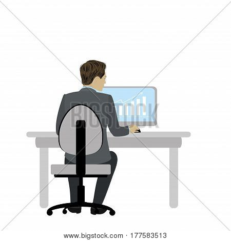 Businessman or office worker  sitting at a desk and working on the computer, back view. Workplace.Cartoon stock vector illustration.