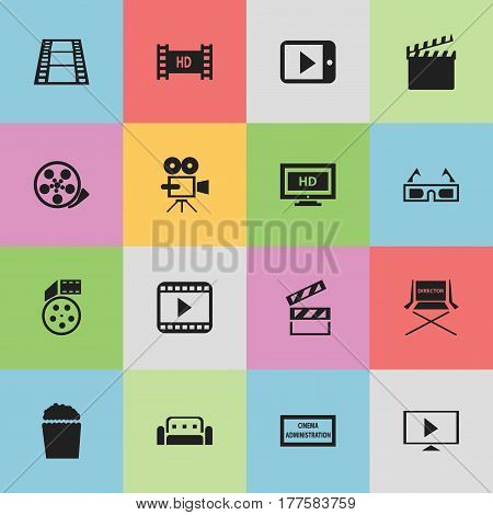 Set Of 16 Editable Cinema Icons. Includes Symbols Such As Tablet Play, Hd Screen, Tape And More. Can Be Used For Web, Mobile, UI And Infographic Design.