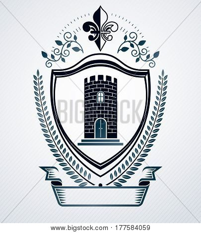 Heraldic coat of arms decorative emblem created with medieval tower illustration