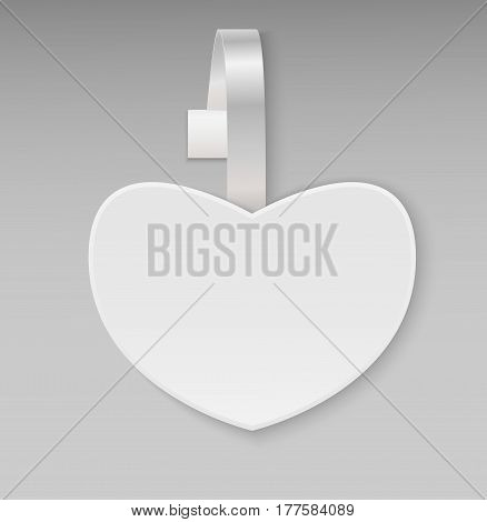 Empty vector blank shape white heart paper plastic advertising price wobbler front view. Isolated on background. Advertising price stickers for sale and discount Valentine's Day. Vector illustration.