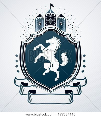 Heraldic coat of arms decorative emblem created with horse illustration and medieval castle