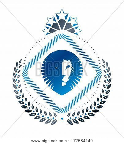 Heraldic coat of arms decorative emblem created with lion head illustration and pentagonal stars