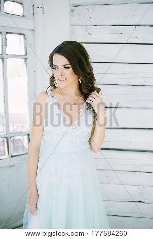 beautiful young girl in long dress. Fashion art photo.