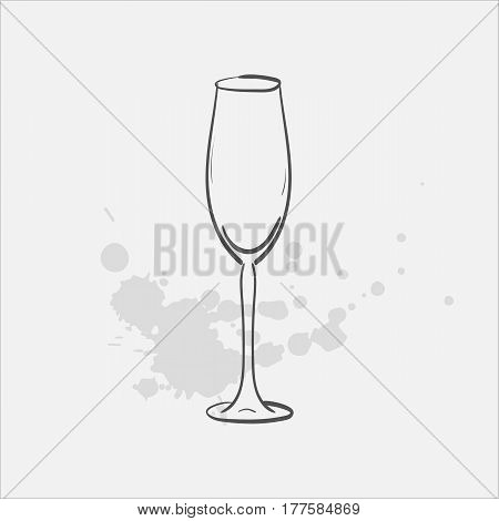 flute glass hand drawn icon - vector illustration