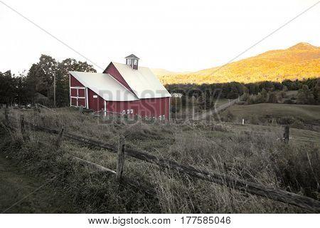 Barn in rural Vermont under twilight